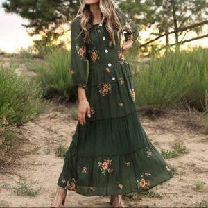 Peasant Floral Maxi Dress